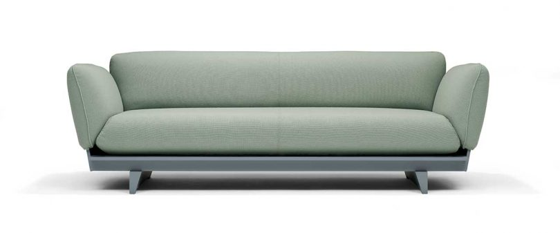 FLOAT SOFA in green fabric with green base