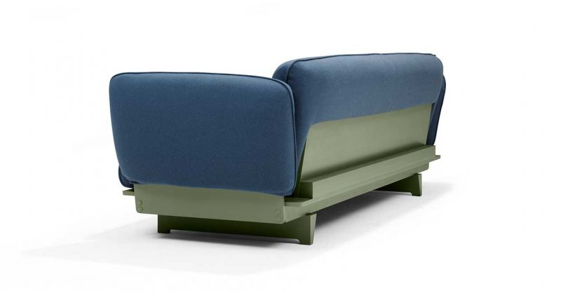 FLOAT SOFA in blue fabric with green base
