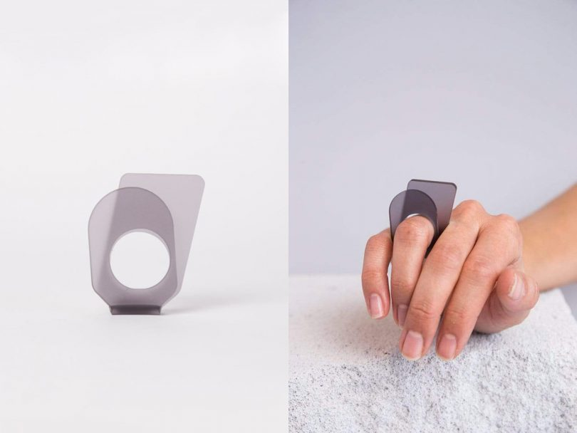 split image of light skinned hand wearing a grey ring and the grey ring on a light background