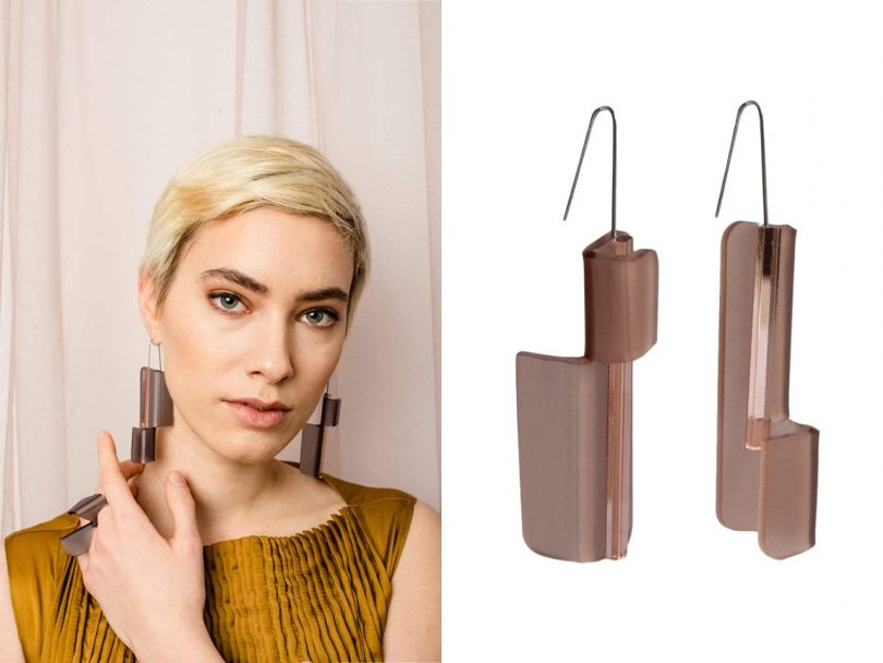 split image of light skinned woman with her on her shoulder and a pair of hanging mauve earrings on white background