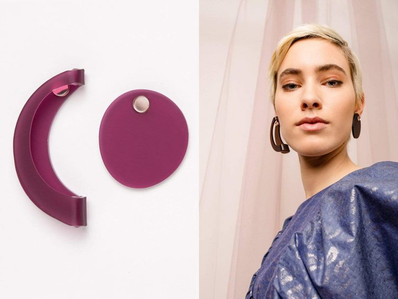 split image with a pair of mismatched magenta earrings on a white background and a light skinned woman looking over her shoulder