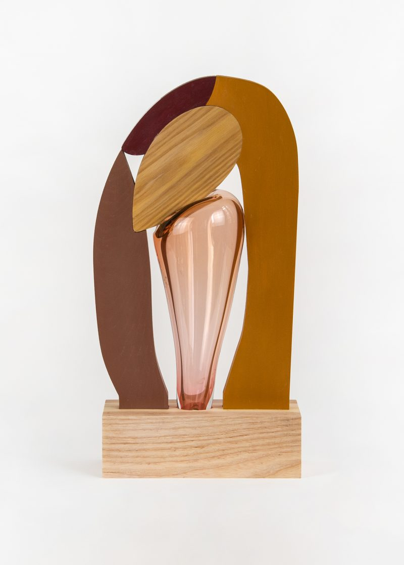 colorful abstract wood and glass sculpture