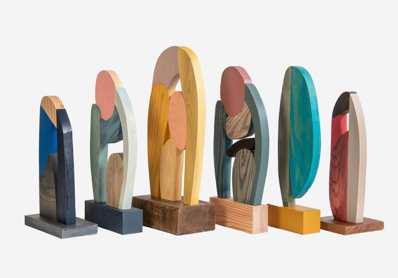 colorful abstract wooden sculptures