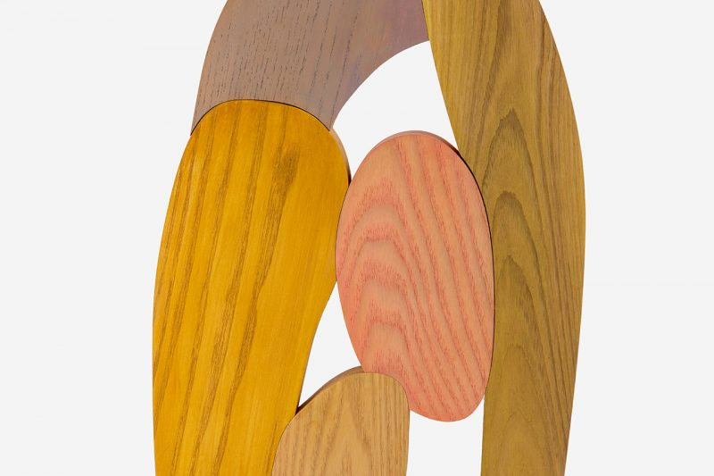 colorful abstract wooden sculpture detail