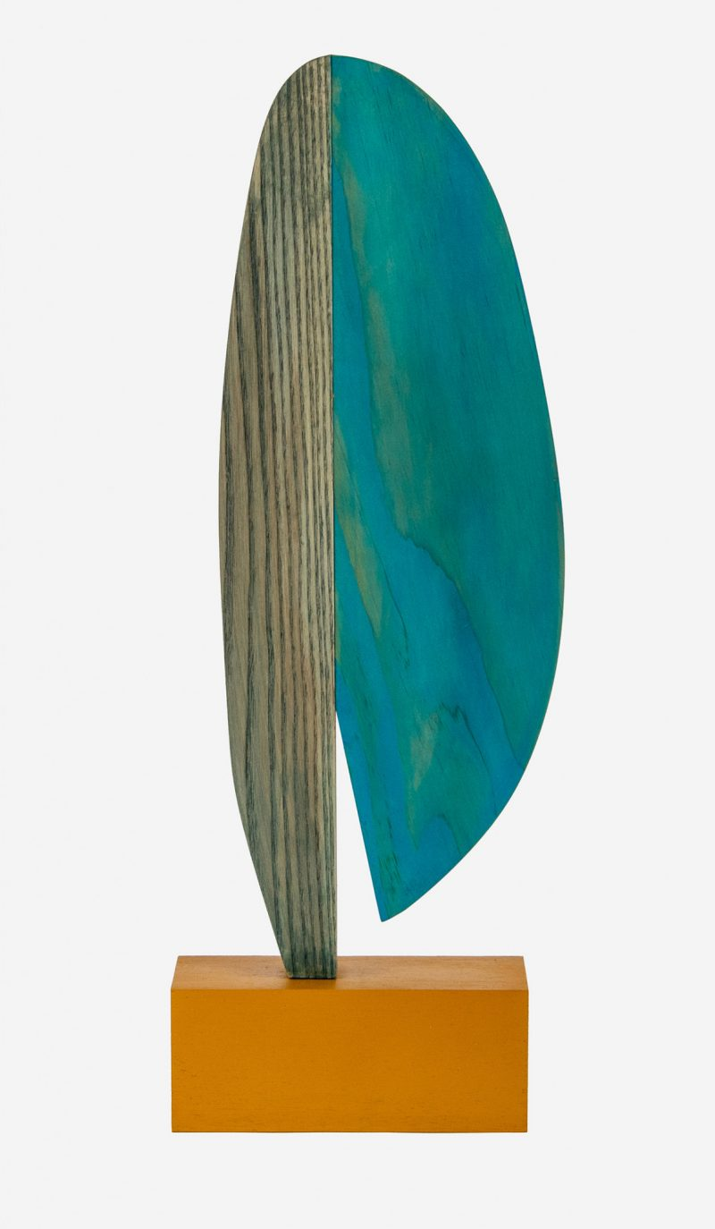 colorful abstract wooden sculpture