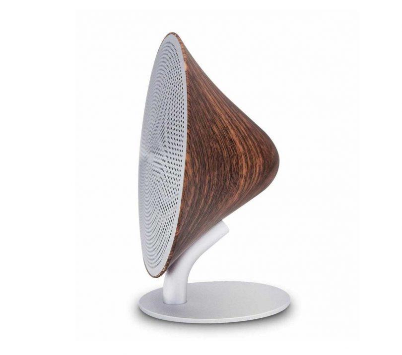 standing desktop speaker with walnut shell