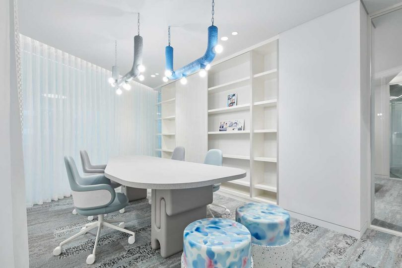 Modern office with whimsical and colorful furnishings