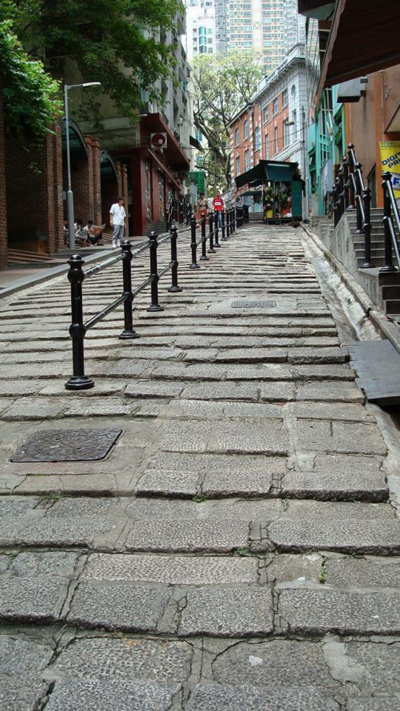 a stone street in Hong Kong