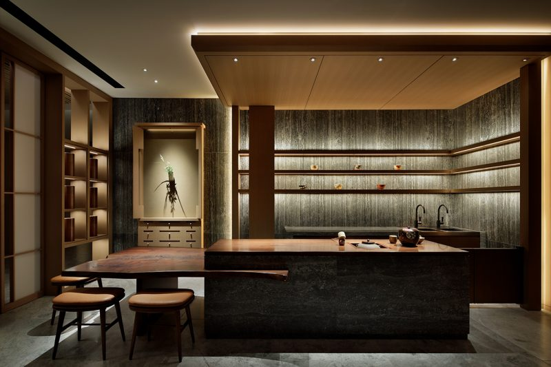 interior living space with mood lighting and bar