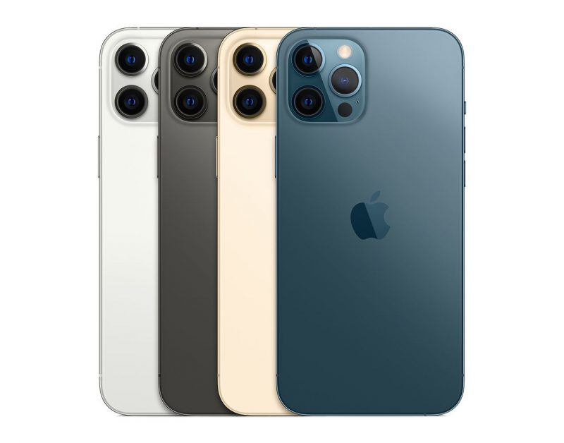 four iPhone 12s lined up