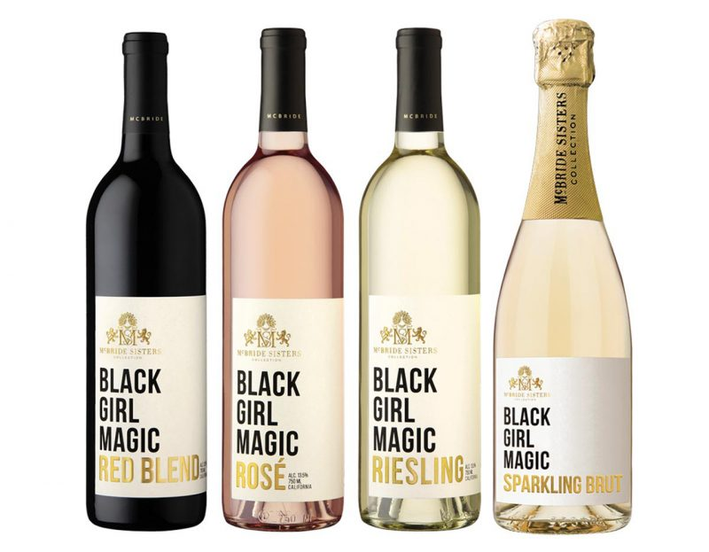 four bottles of Black Girl Magic wine lined up in a row
