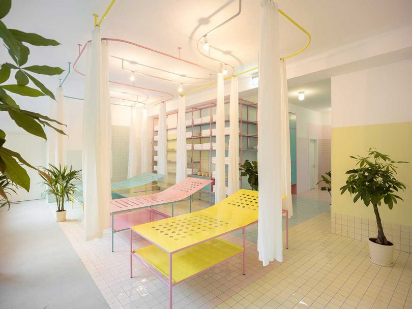 pastel tiled treatment room with beds