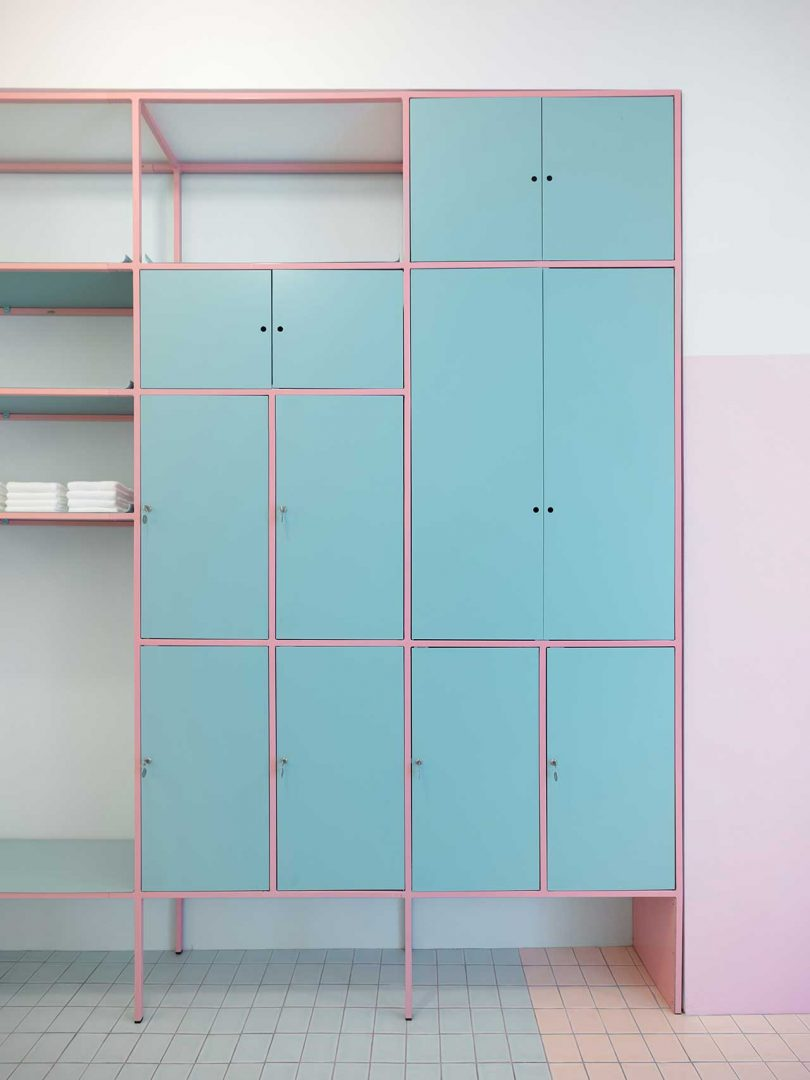 pink and blue shelving