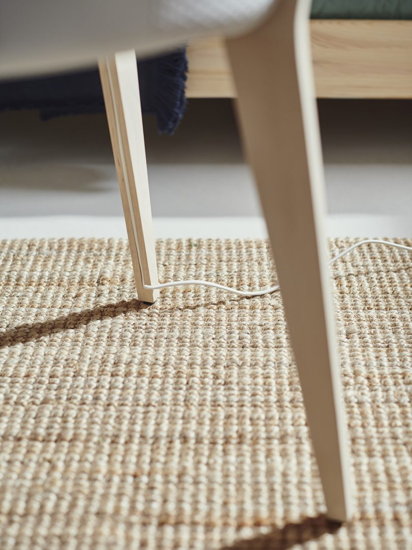 IKEA STARKVIND air purifier table power cord management detail.