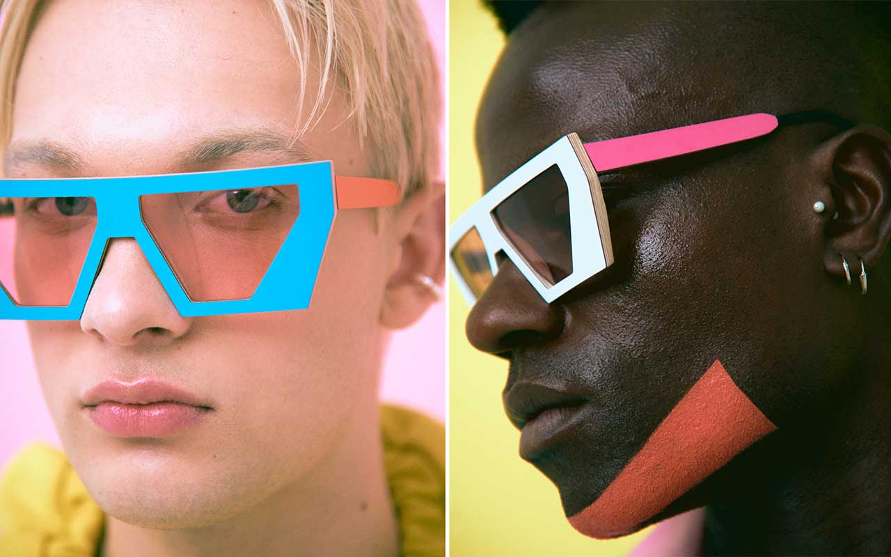 two people with neon sunglasses on