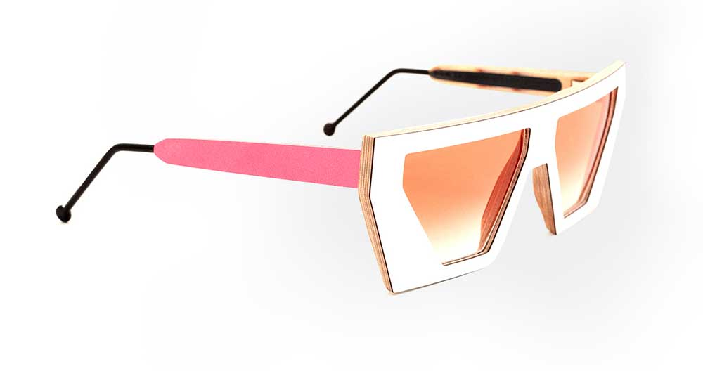 white sunglasses with pink sides