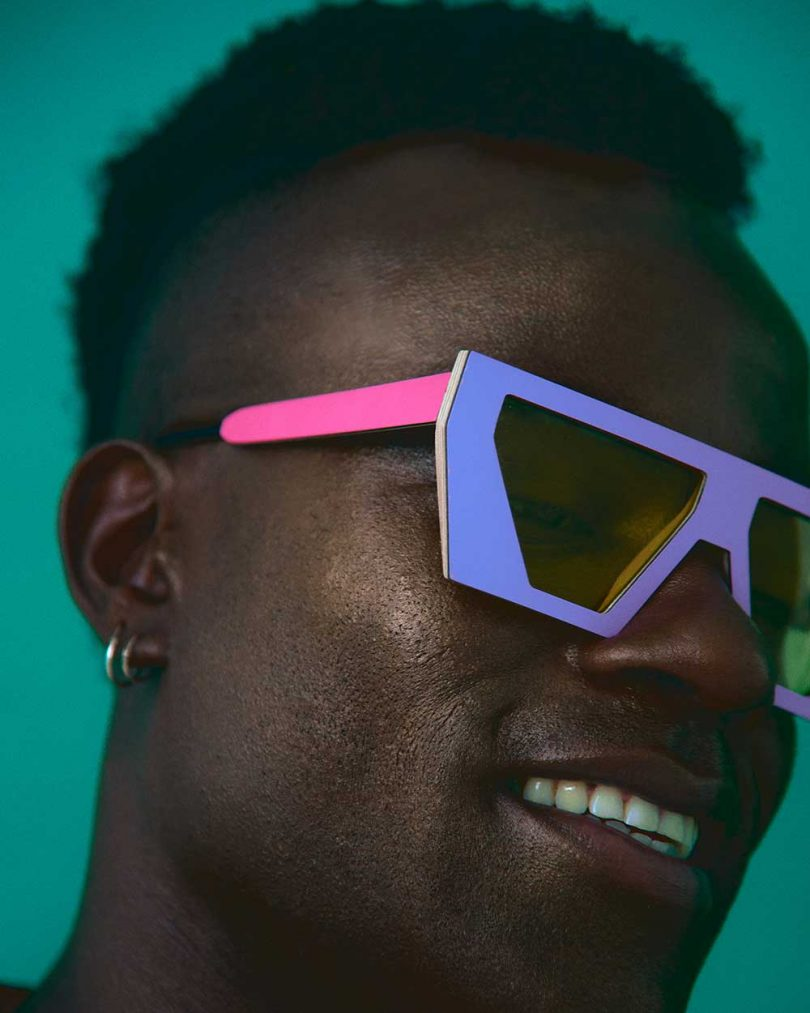 man in purple and pink sunglasses