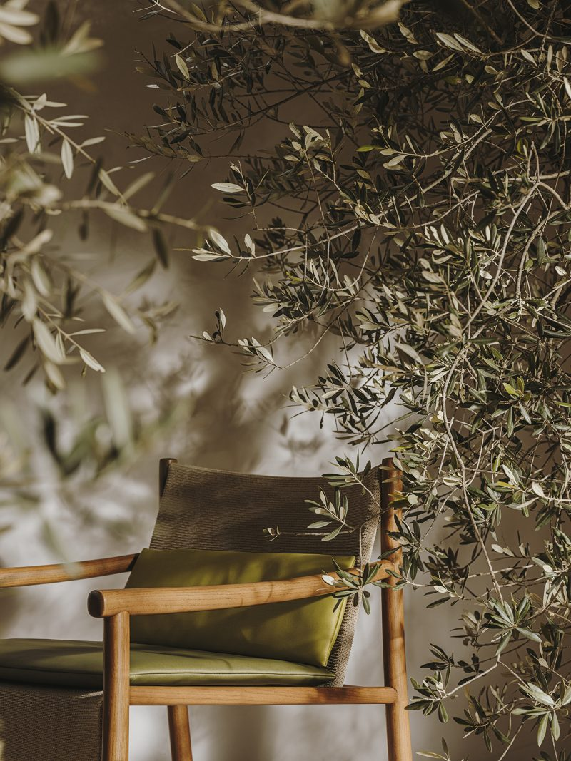olive green armchair with greenery