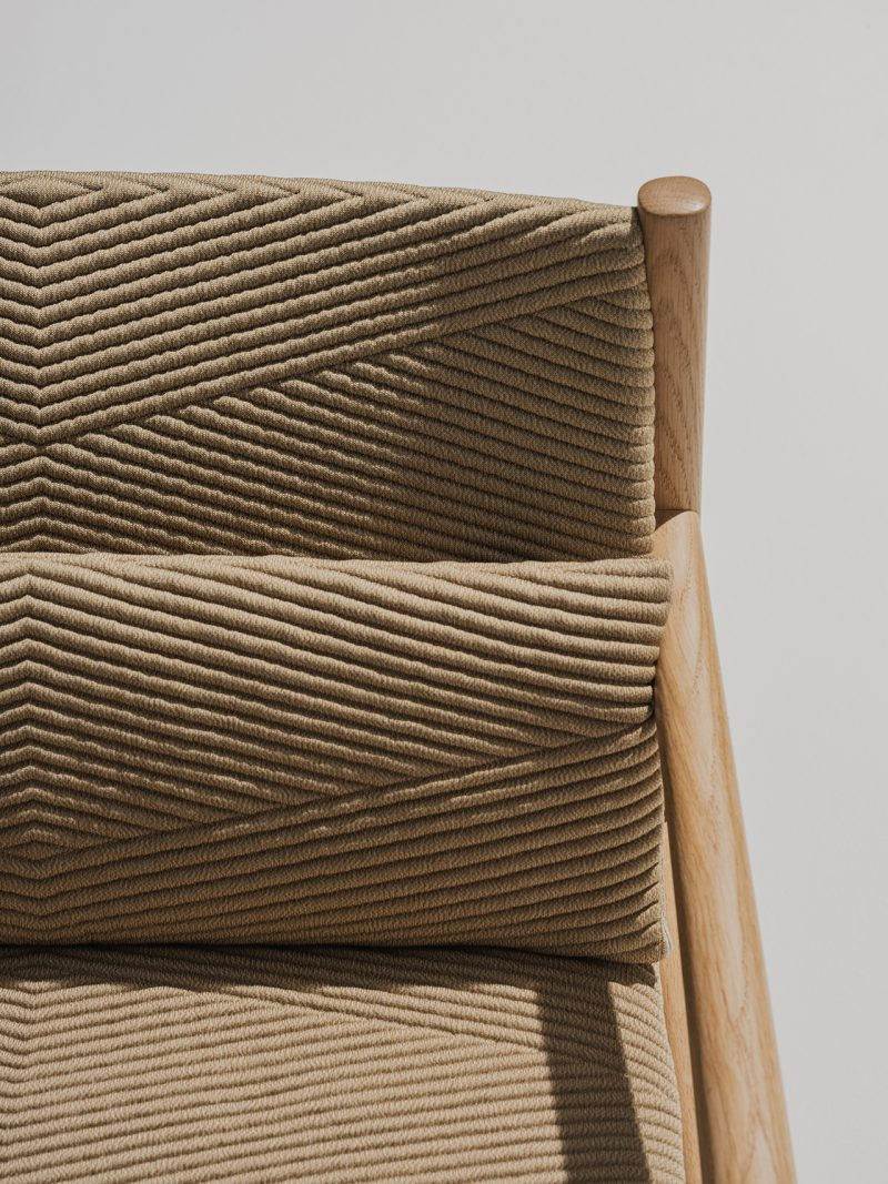 close up of light brown textured fabric
