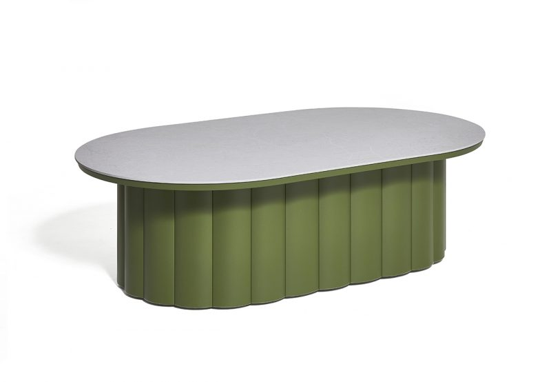 olive green coffee table on white background