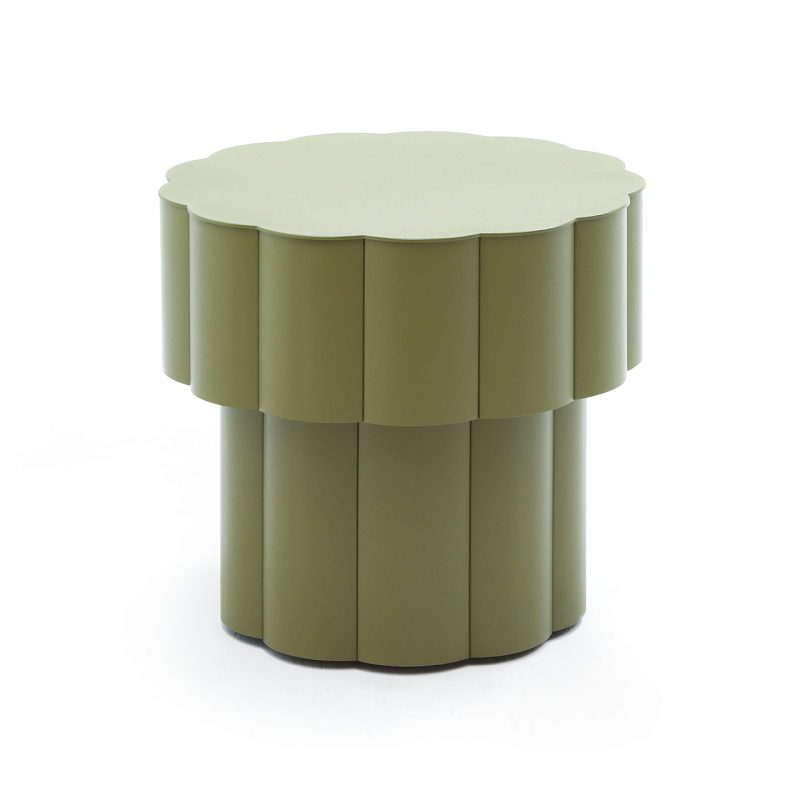 round olive green stool on white background