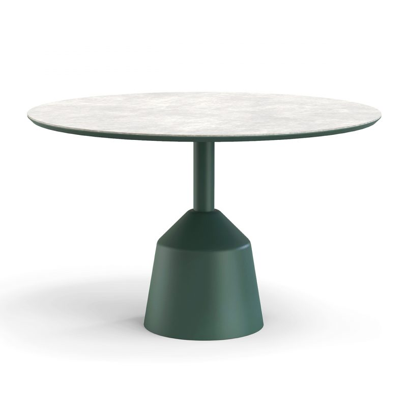 round pedestal dining table on white background