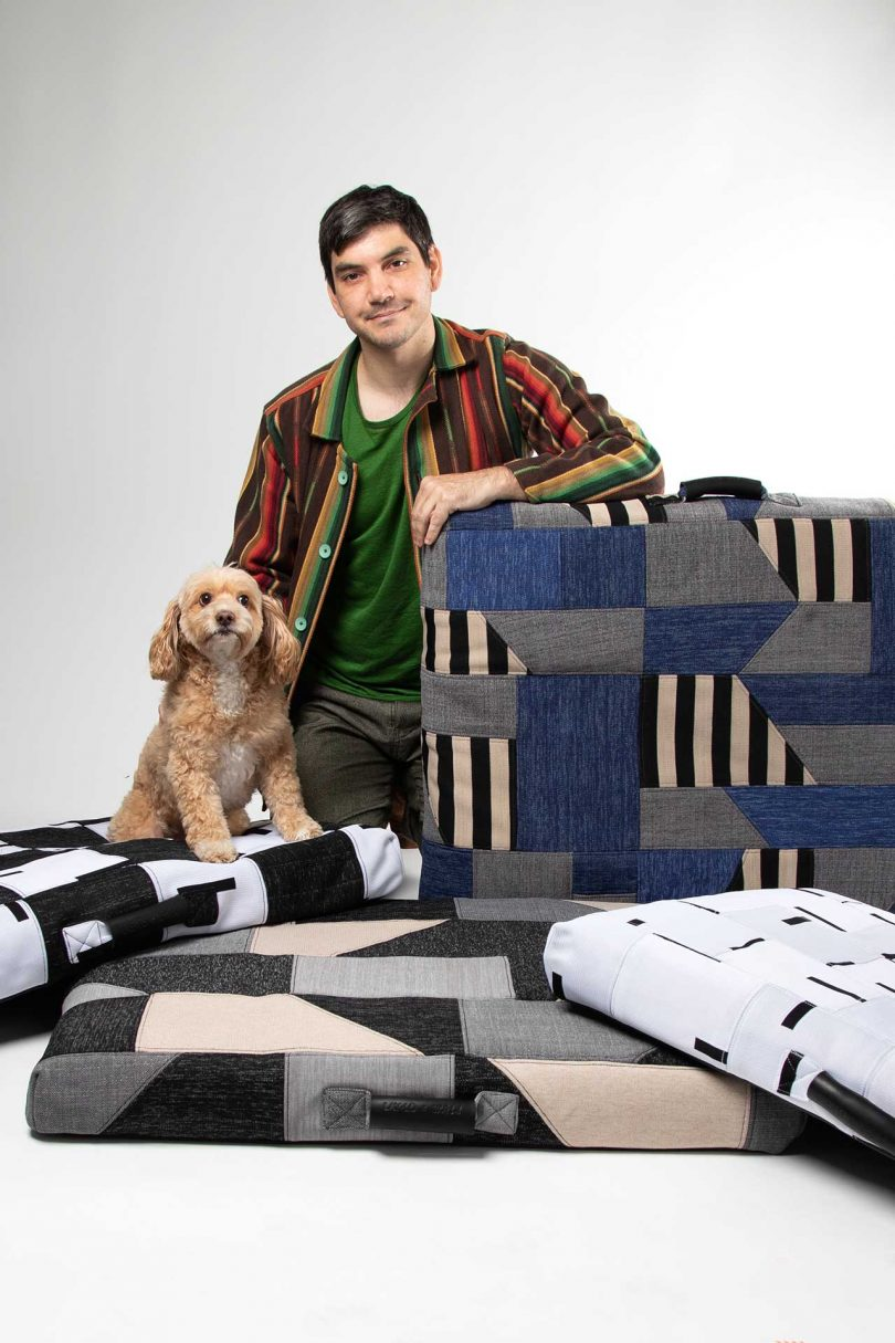 warren aldrich with dog and four patchwork ReMade dog beds