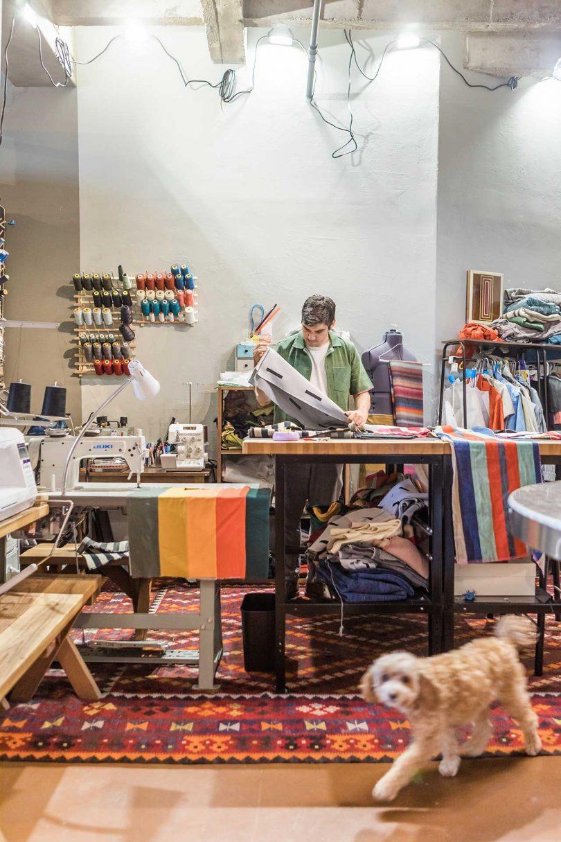 Warren Aldrich in his textile studio