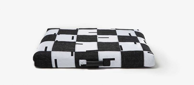black and white patchwork dog bed