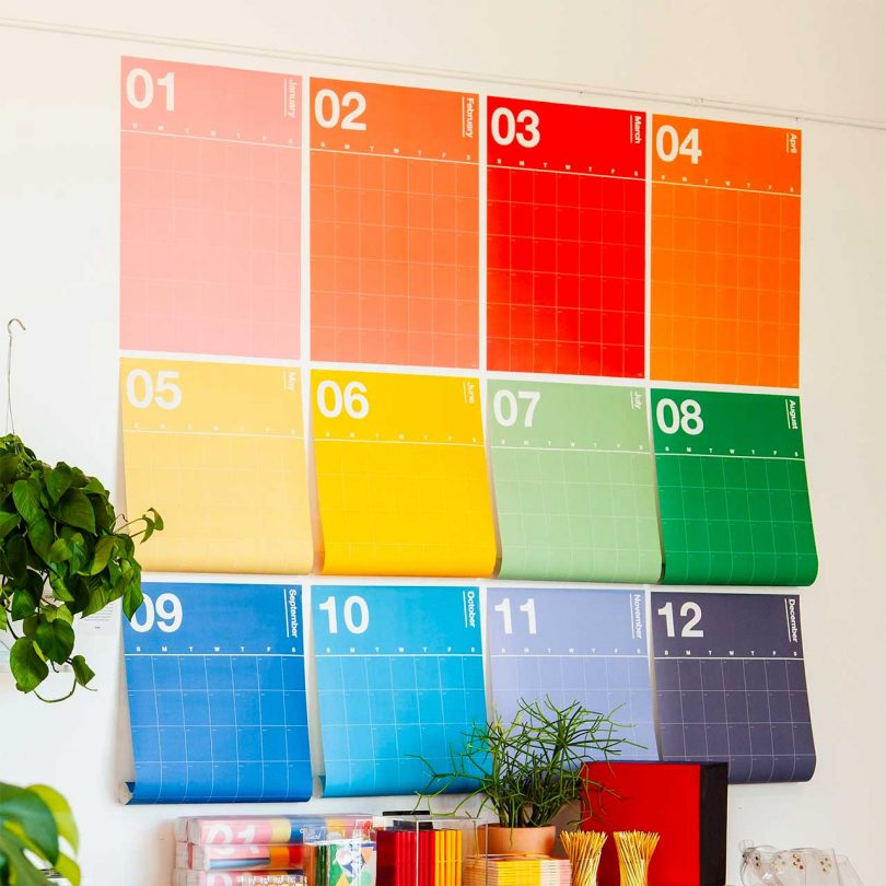 wall with colorful calendar pages