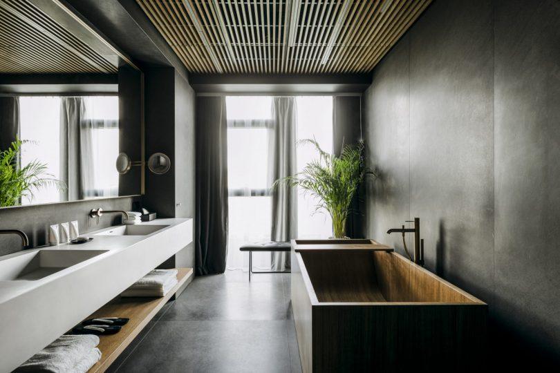 Hinoki soaking tub and bathroom