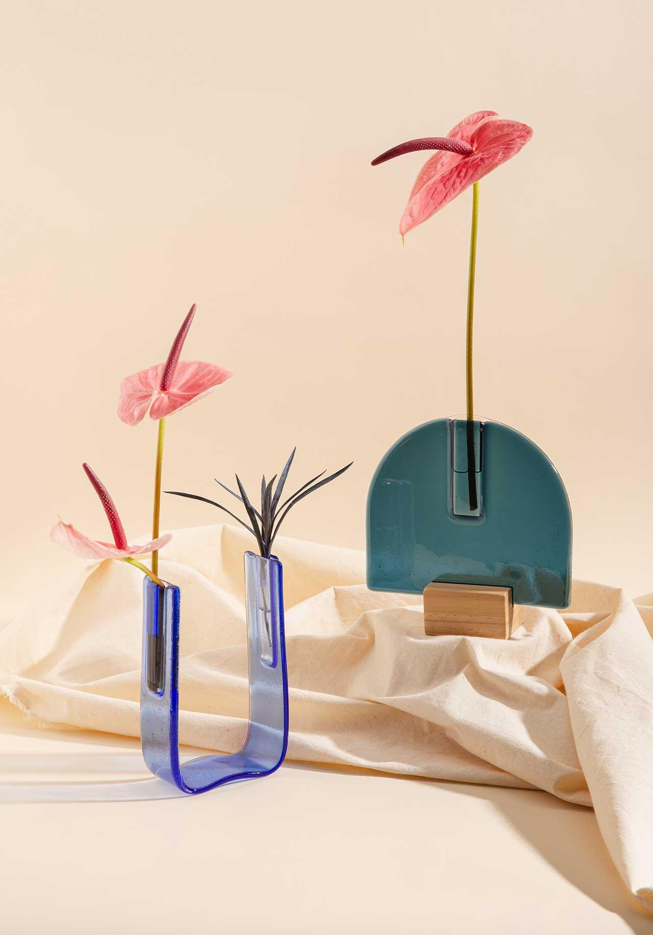 geometric glass vases
