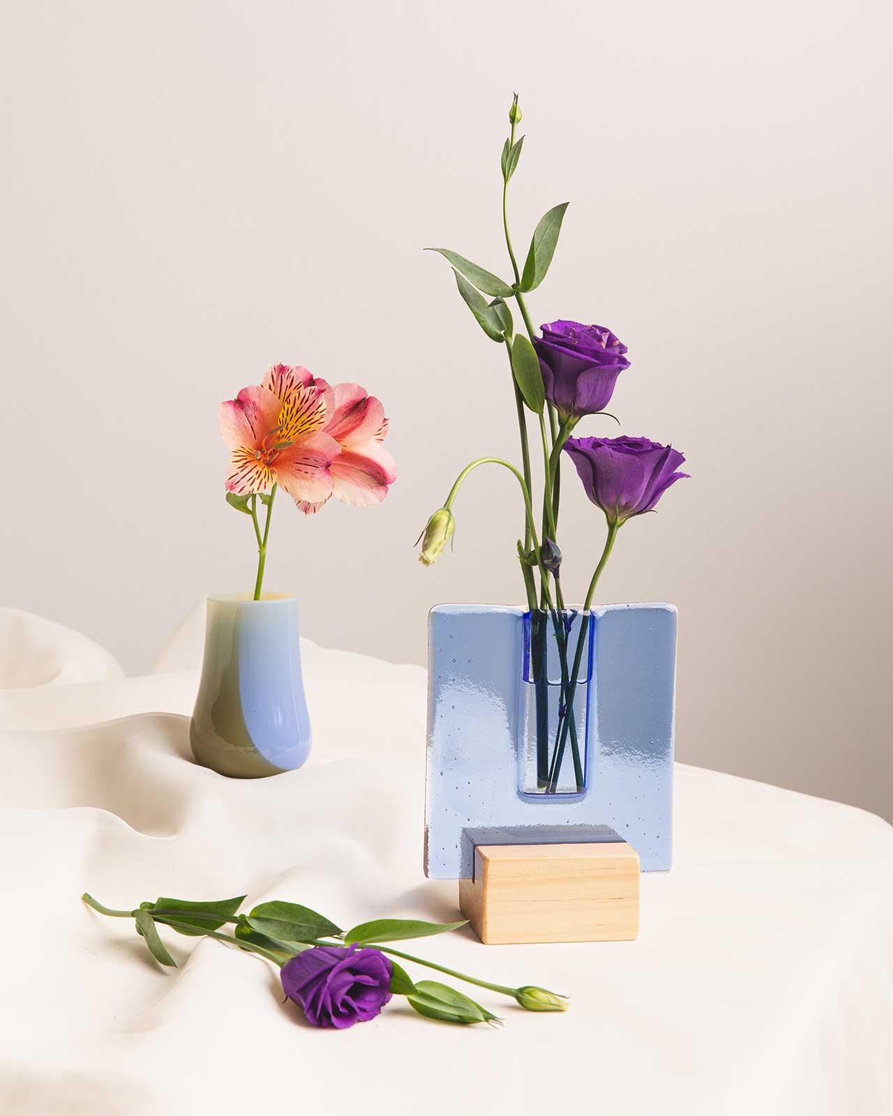 blue glass vases