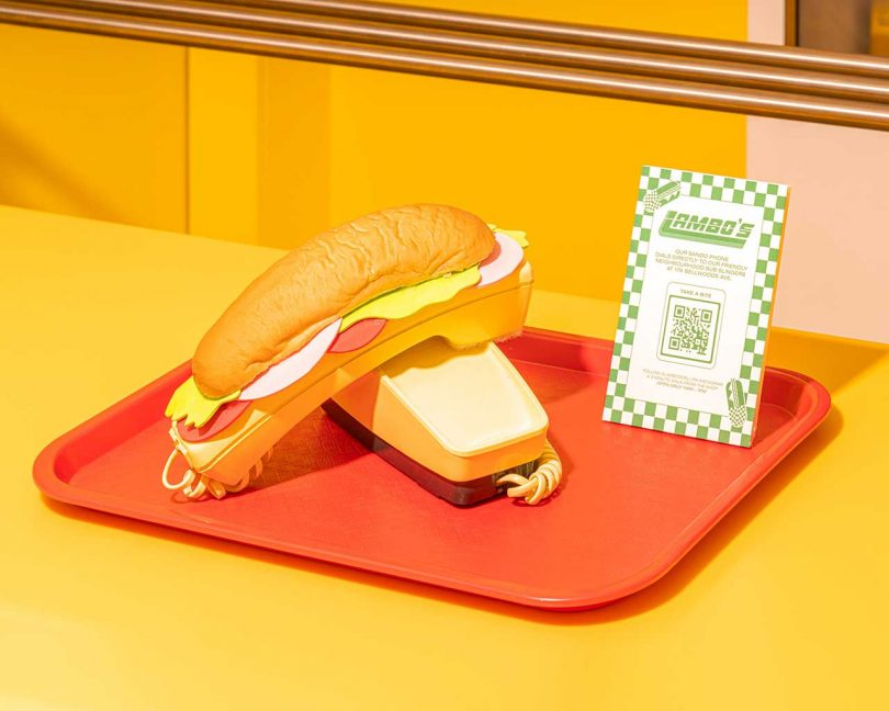 sandwich phone on red tray in retail shop