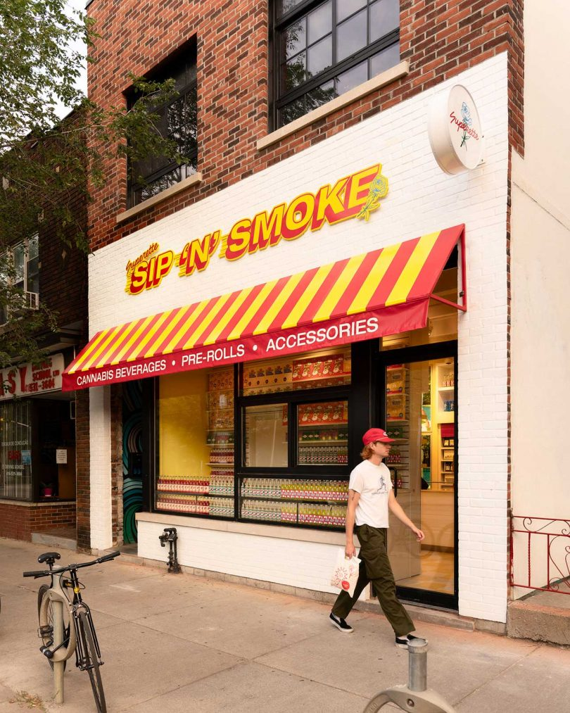 smoke shop exterior with red and yellow accents