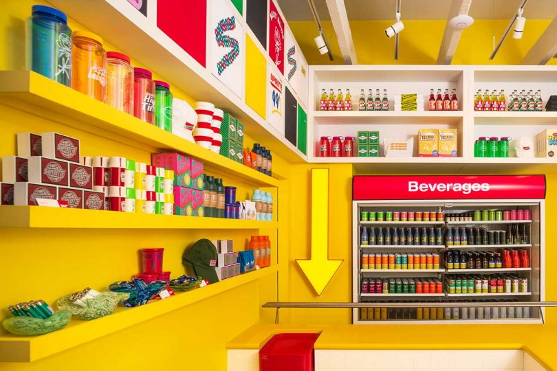Superette cannabis retail interior with products