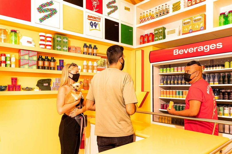 Superette cannabis retail interior with customers