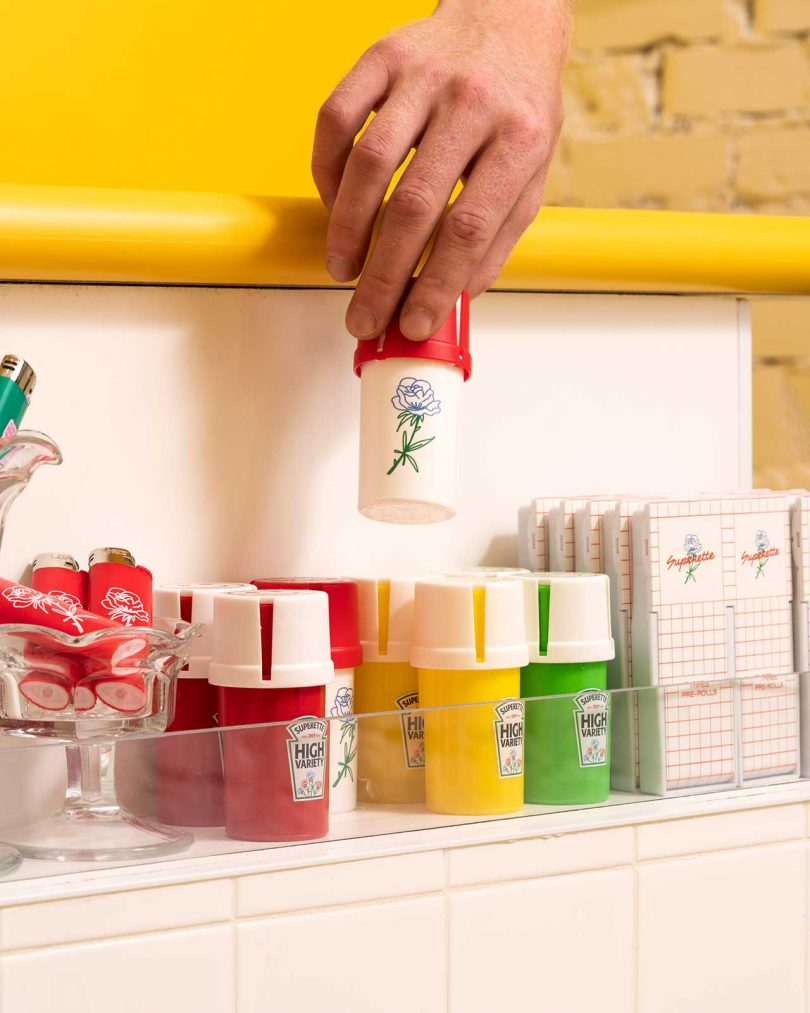 product shelf with cannabis products