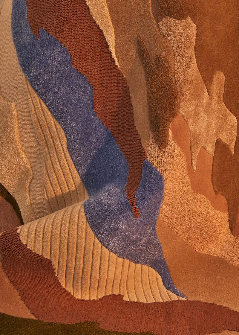 detail of earth toned floor rug