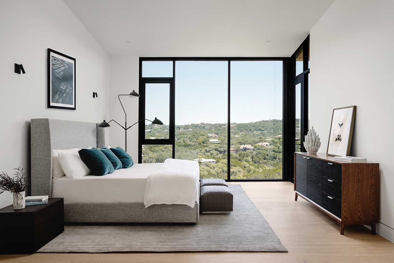 modern bedroom looking out to canyon