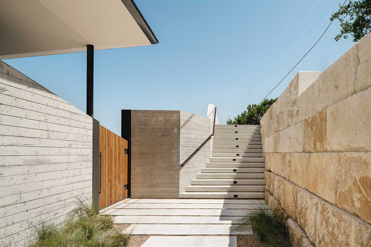 walkway and stairs leaving modern house