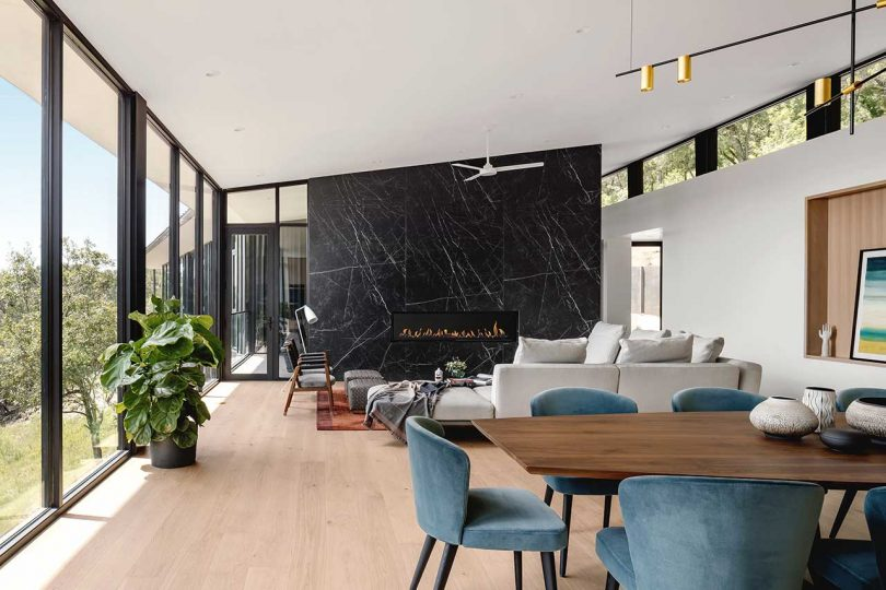 living space with slanted ceiling