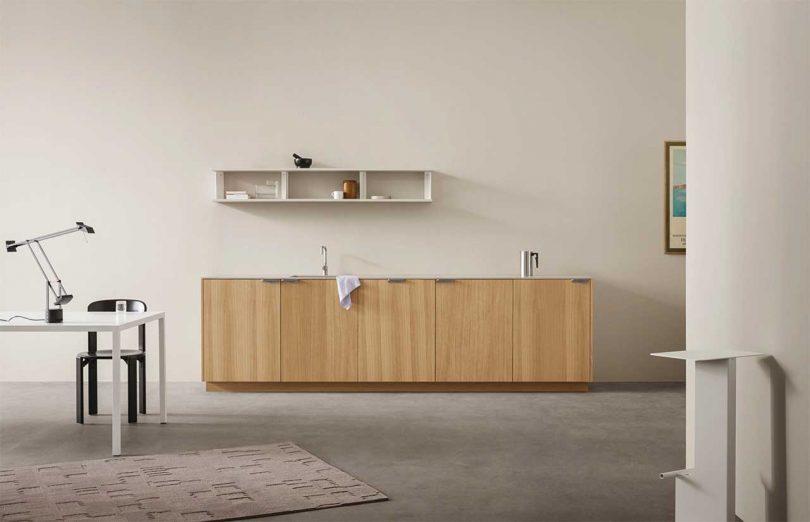 Modern kitchen with oak wood cabinets