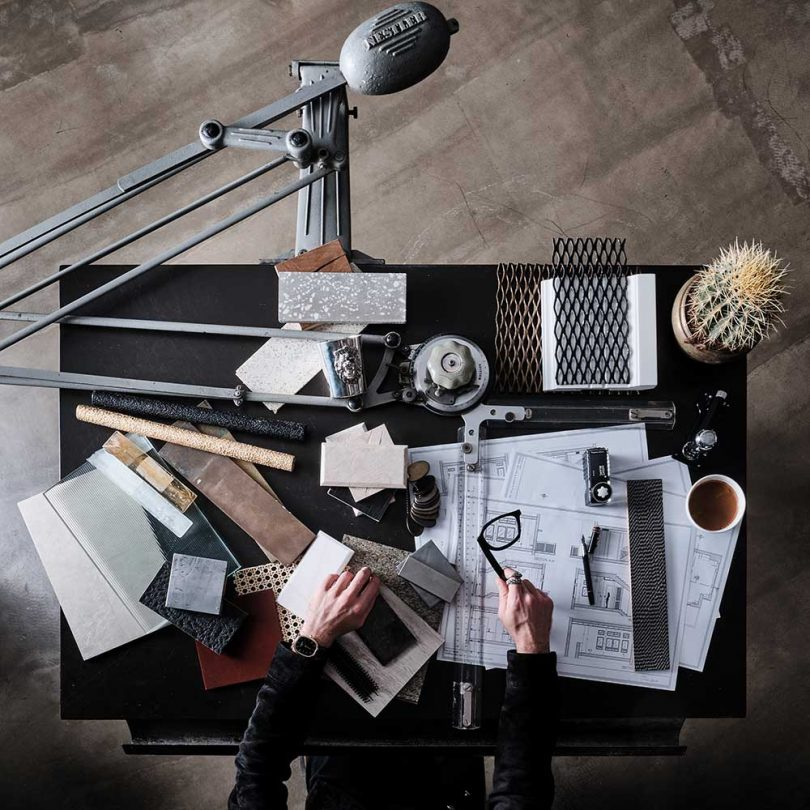 architect's desk from above