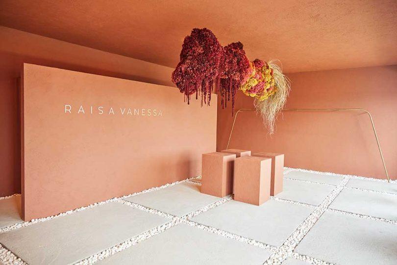peach popup shop interior