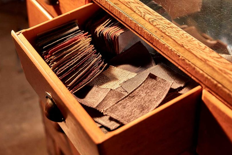 material samples in a drawer
