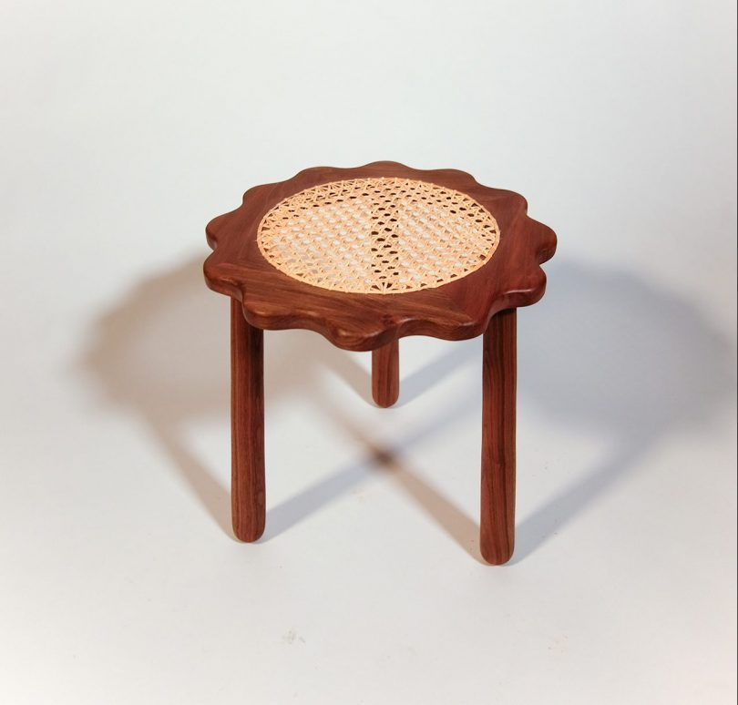 dark wood caned stool
