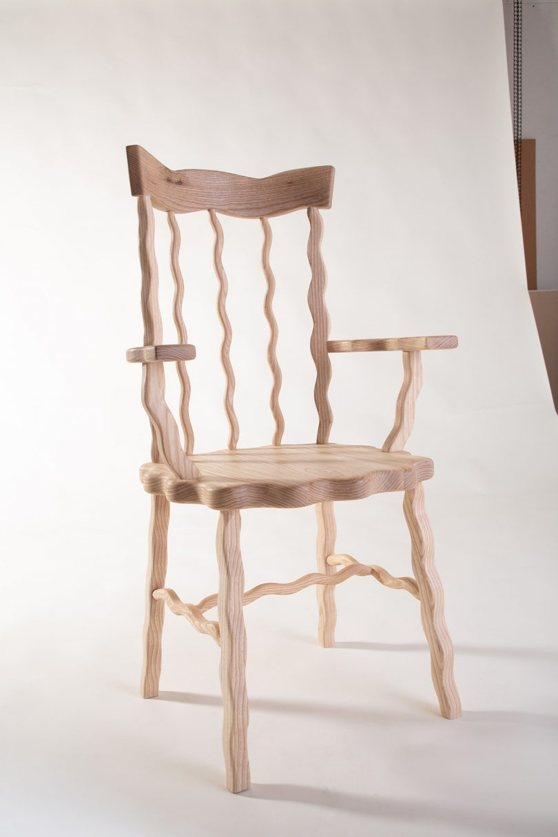 light wood chair with squiggly lines