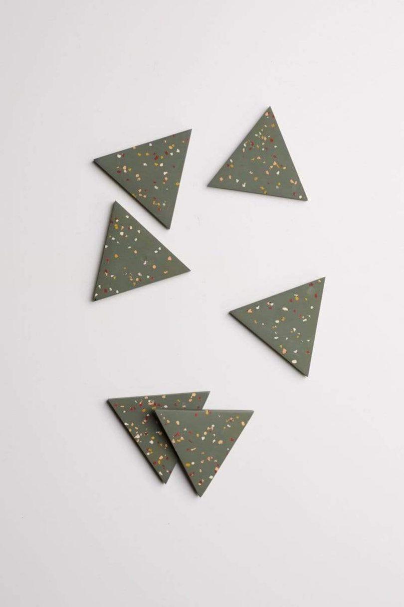 green triangle terrazzo coasters