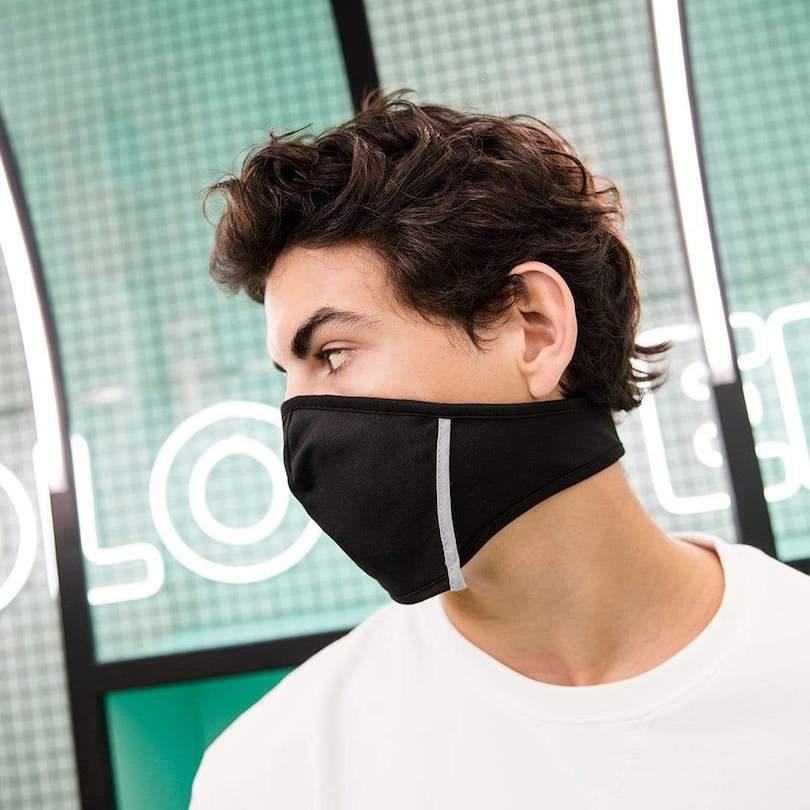 black face mask on man